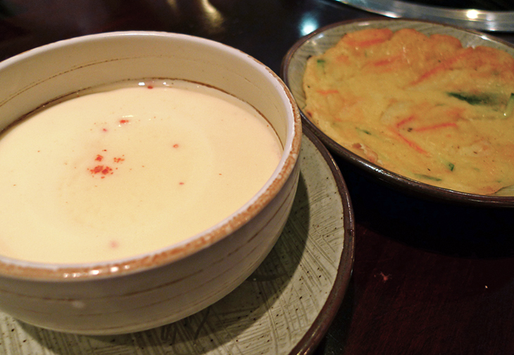 steamed egg custard and green onion pancake at seoul house restaurant toronto