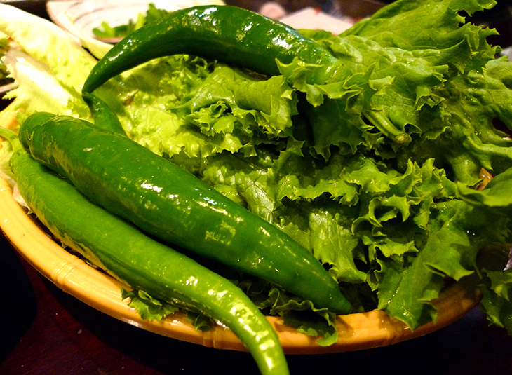 green chili peppers and lettuce