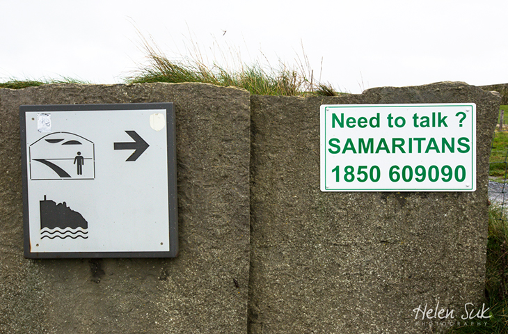 cliffs of moher sign, samaritan