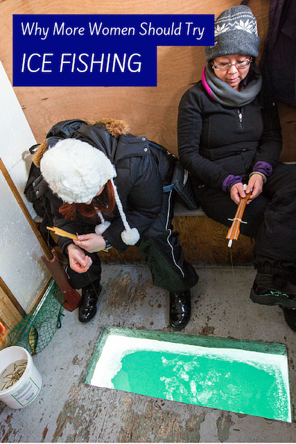 women ice fishing at lake simcoe ontario
