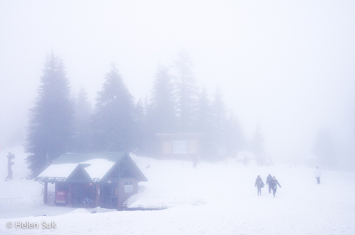 snowy scene at grouse mountain vancouver