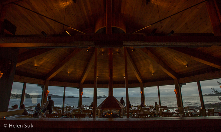 panoramic view of the ocean at the pointe restaurant at the wickaninnish inn