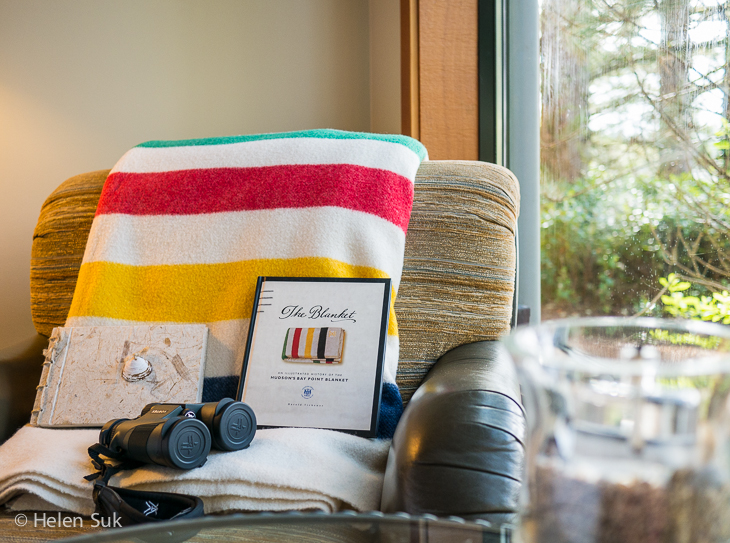 room at the wickaninnish inn in tofino bc with a hudson's bay point blanket
