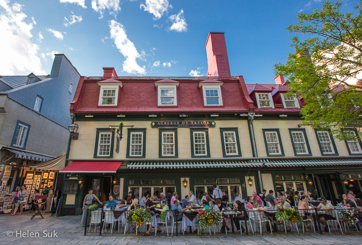 historical building and outdoor patio in old quebec city