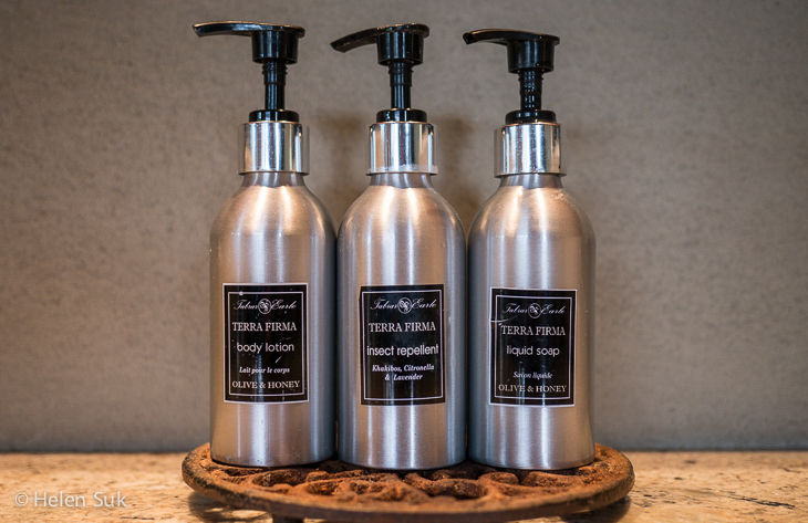 toiletries and insect repellent at arathusa safari lodge