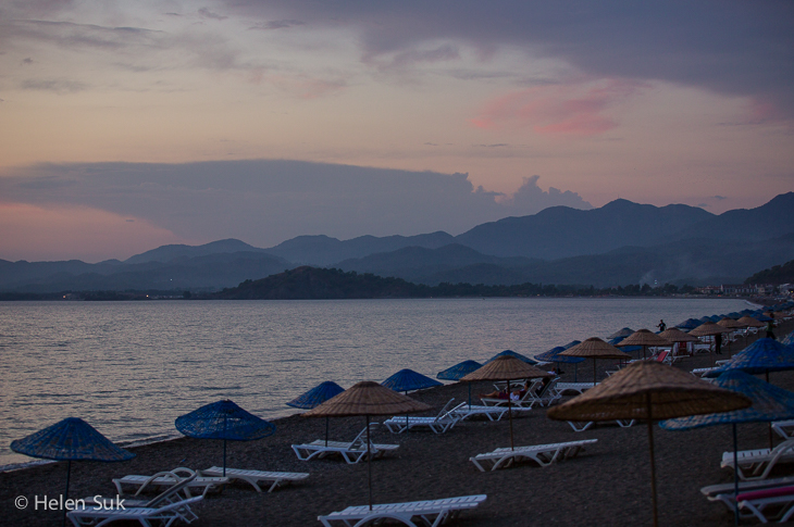 sunset on calis beach turkey