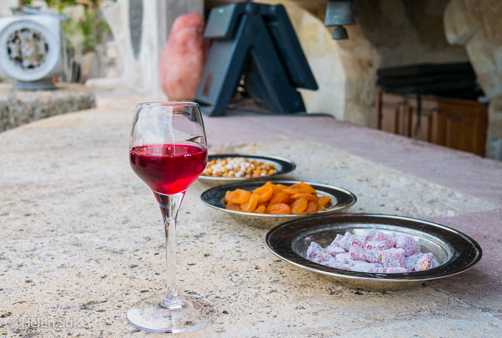 welcome pomegranate drink at the museum hotel cappadocia
