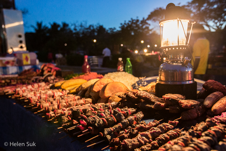 skewered meat on display at Forodhani Gardens in Stone Town