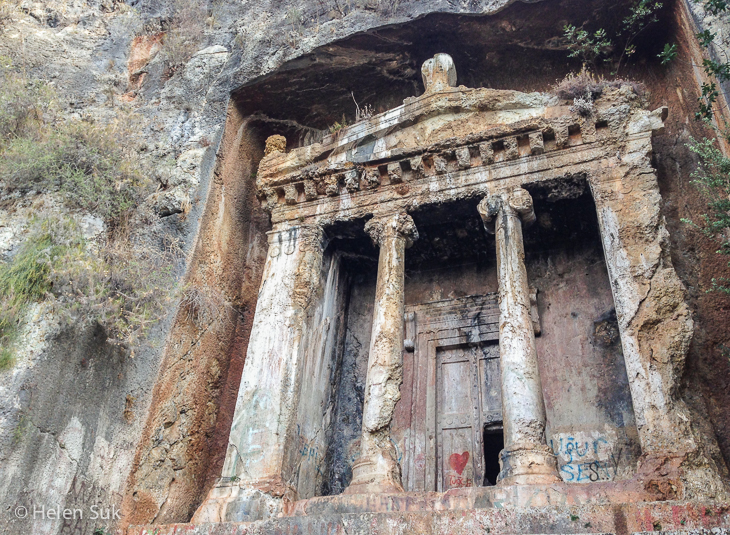 tomb of amyntas, a lycian rock tomb in fethiye turkey