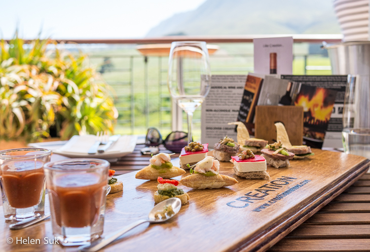 food pairing with wine at creation winery in hermanus