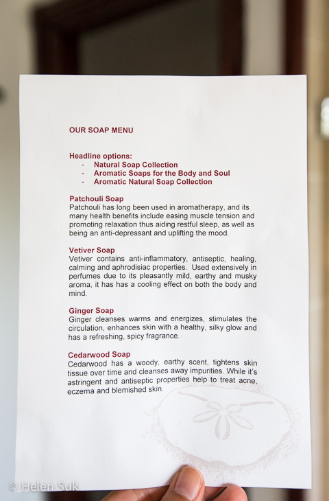 soap menu, anantara bazaruto island resort