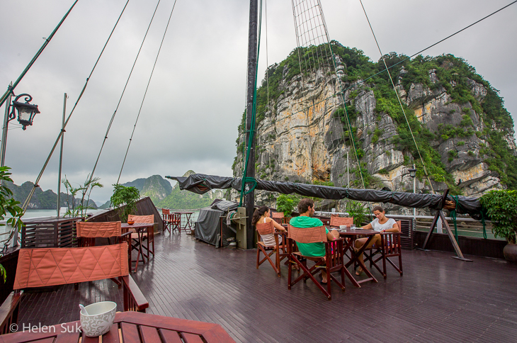 top deck of the treasure junk boat in halong bay vietnam