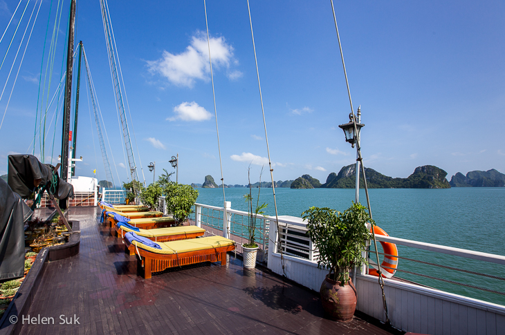 top deck of the treasure junk boat in bai tu long bay