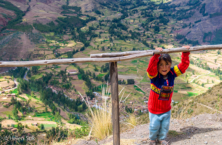 smiling peruvian child in the sacred valley