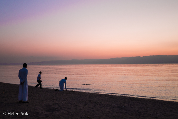 aqaba sunset, south beach, jordan
