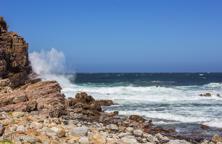 crashing waves at the cape of good hope south africa