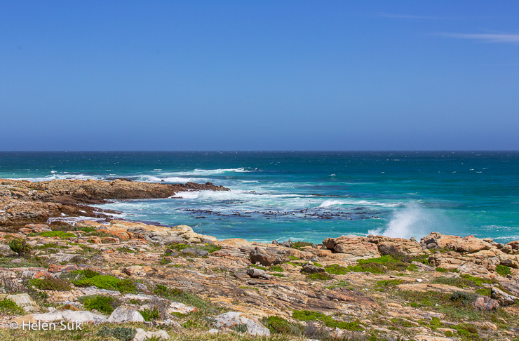 shimmering blue ocean at cape point in the cape peninsula south africa
