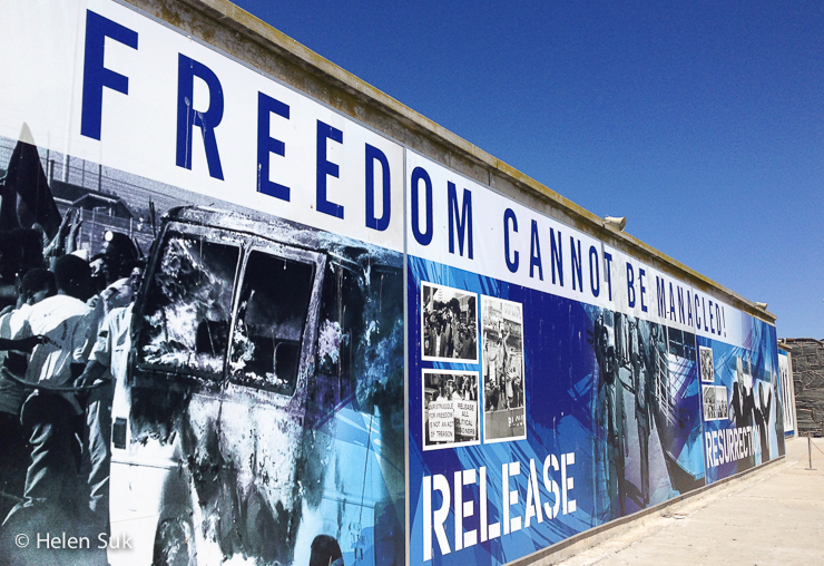 wall mural at robben island prison in cape town south africa