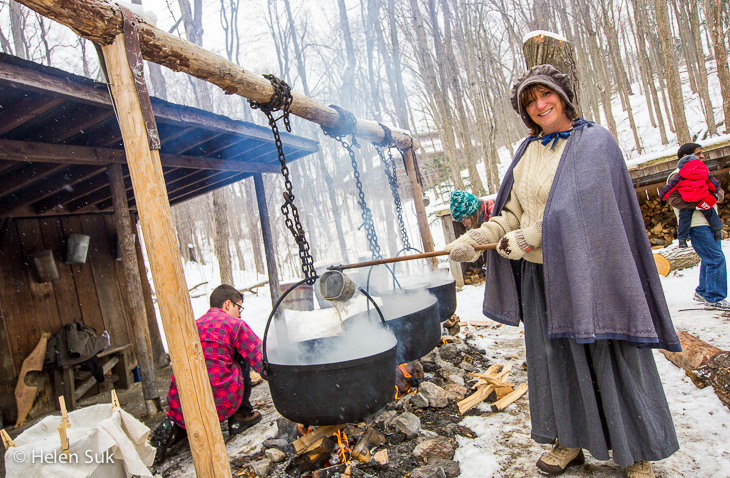 a pioneer brews maple syrup for the sugarbush maple syrup festival at the kortright centre for conservation