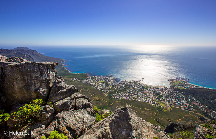 view of the ocean and cape town from table mountain
