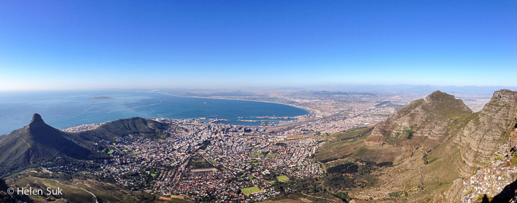 panoramic view of cape town from table mountain