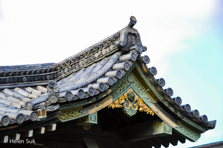 close-up of the roof of nijo castle in tokyo japan