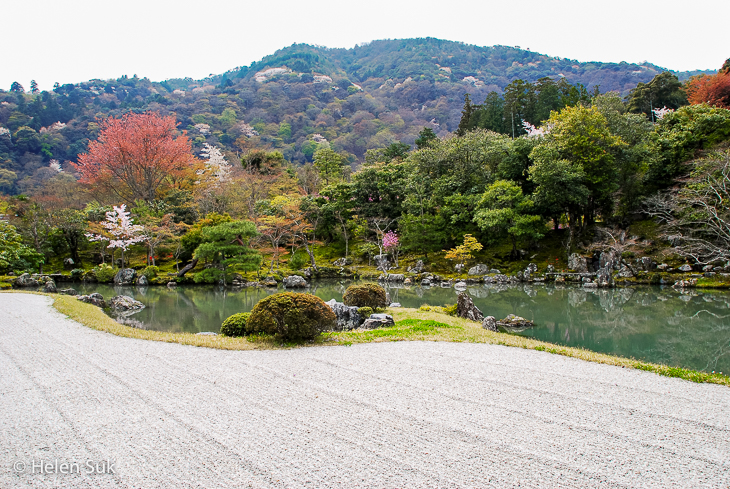 rock garden at tenryu-ji temple in kyoto japan
