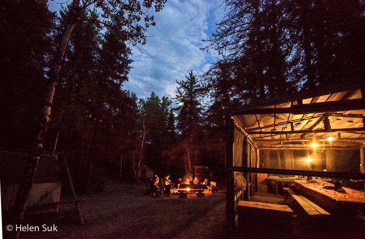 campsite at night in zoo sauvage de st felicien