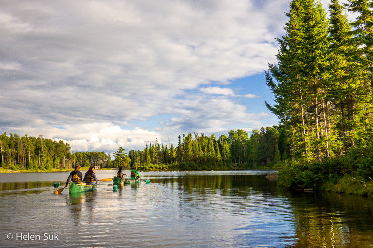 canoeing in the nature trail park at the zoo de st felicien