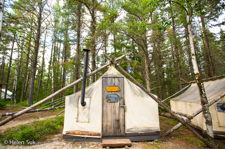 a tent in the land of the caribou camp at the zoo sauvage st felicient
