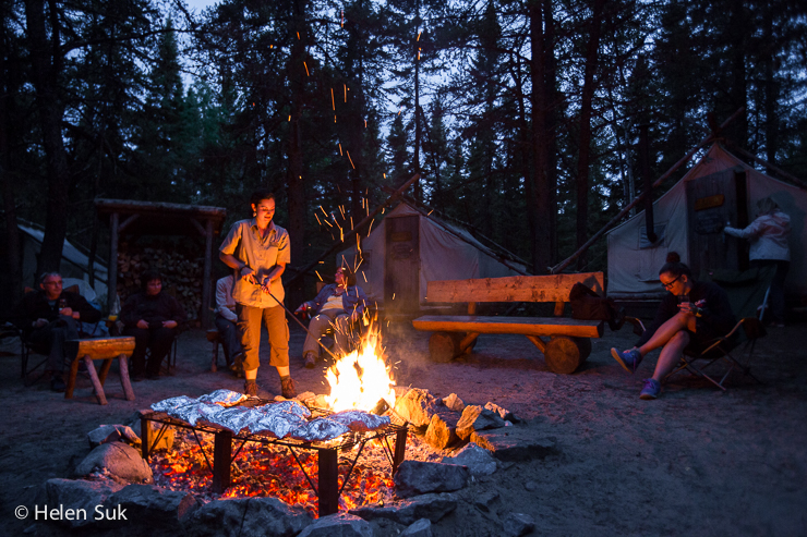 tour guide prepares dinner over a campfire at zoo sauvage de st felicien