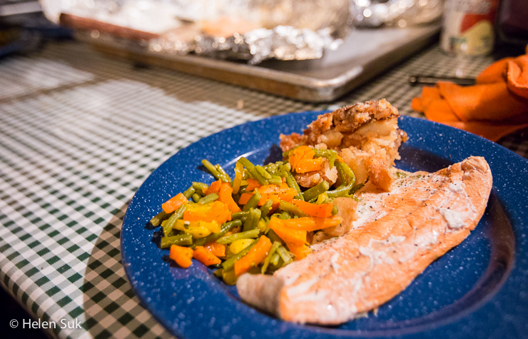 dinner of salmon trout and vegetables