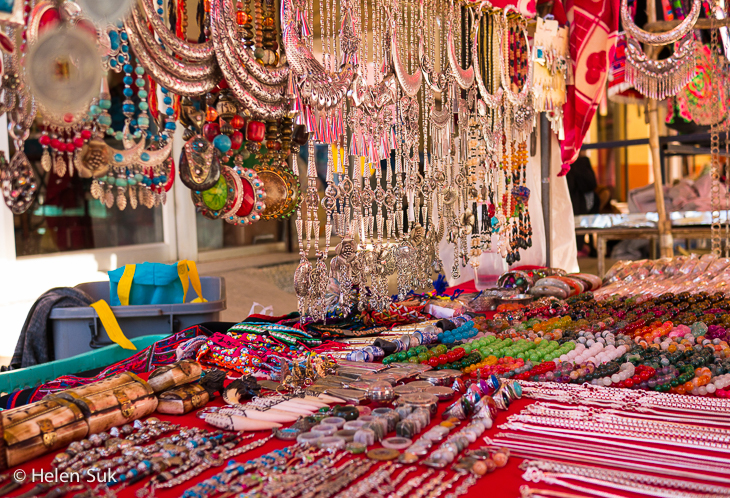 jewellery stall at the tourist market in mae salong thailand