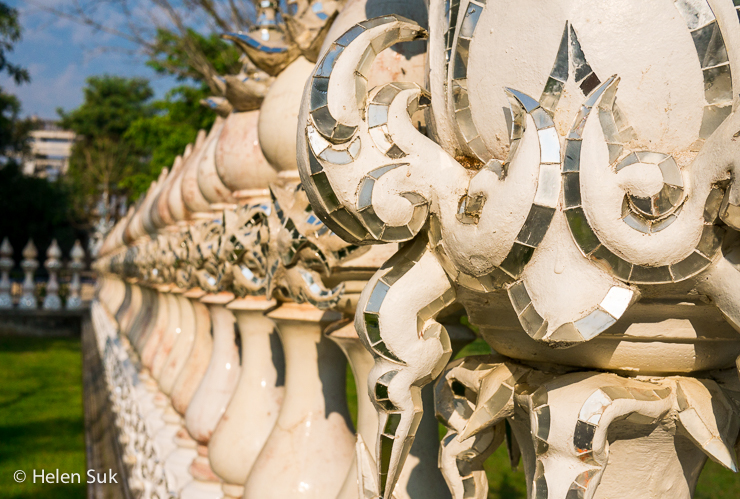 white columns at the white temple in chiang rai