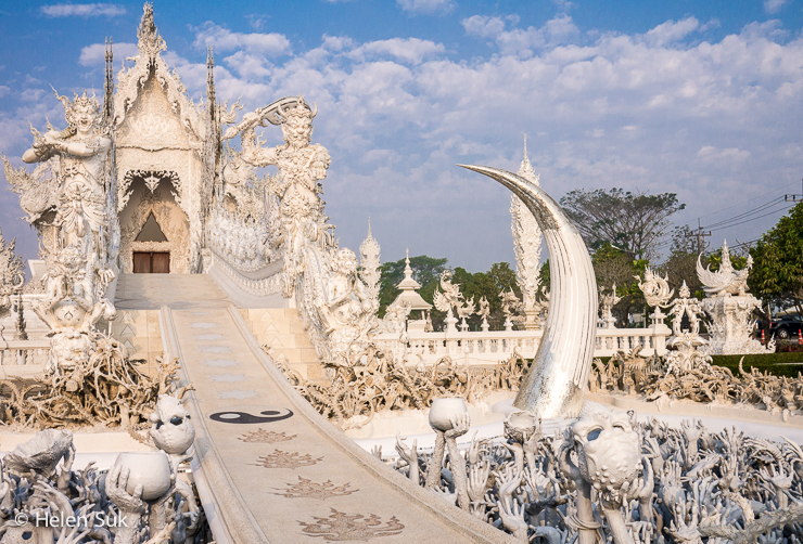extravagant white temple in thailand